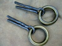 Antique 2 Wrought Iron & Brass Tethering Ring on Pin Meat Beam Hook Old Hardware