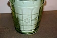 Vintage Green Depression Glass Etched Ice Bucket With Handle