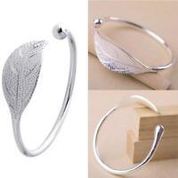 Elegant Ladies Leaves Silver Opening Bracelet Bangle HOT