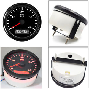 Marine RPM Tachometer Gauge LCD Tacho Hour Meter 12/24V 0-4000 RPM 85mm Red LED