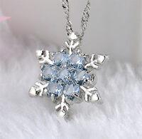 Kette Schneeflocke Kristall Valentinstag Geschenk Winter Damen Halskette silber