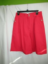 Woman 80's L Red Vintage Cabin Creek High waist pleated s Bermuda Shorts Skort