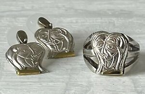 Anthony Quinn Earrings & Ring Sterling Silver 18k Gold Lovers Design Love