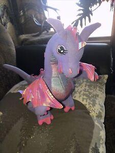 "2002 Genuine Barbie 12"" Plush Purple Nice Talking Dragon Wings Also Flap Rapunze"