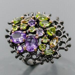 Handmade SET Amethyst Ring Silver 925 Sterling  Size 8 /R172250