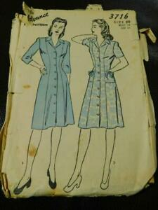 Vintage 30s 40s ADVANCE Sewing PATTERN 3716 Dress Size 20 Original