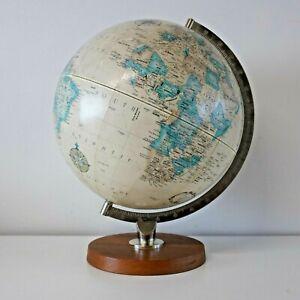 "Vintage 1970s 12"" Replogle World Classic Globe. Teak base. Danish. Mid Century."