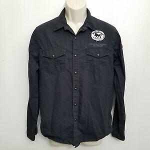 Heritage 1981 Mens Pearl Snap Shirt Medium Black Embroidered Patches L/S