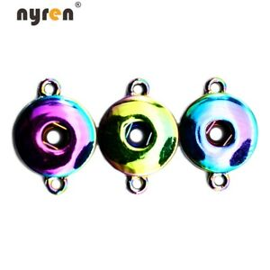 20pcs Plated Charms Snap Button Base Accessories For 18mm DIY Snap Jewelry D