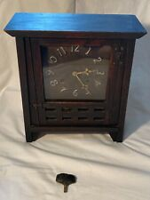 1900's Arts & Craft New Haven Los Barrios Oak Mantle Mission Gong Clock