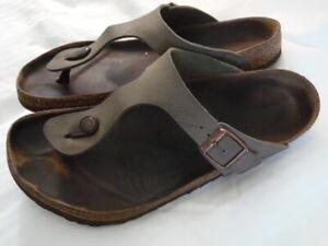 Birkenstock Gizeh Birko-Flor Sandals Thongs Size 11 Women Size 9 Men Brown