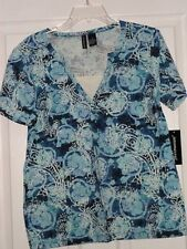 *Jason Maxwell Knit Top Shirt Size S - M Blue White Paisley Purple Gray Floral