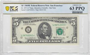 Pair of $5 1969 B Fed Reserve STAR NOTES San Francisco PCGS CH UNC 63 PPQ