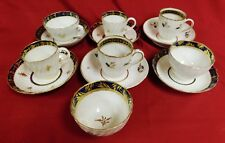 Royal Worcester Dr Wall Porcelain Cups & Saucers Gilt Highlights, 18th C