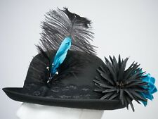 Blue & Black Lace Hat Band Ostrich Feather WHITBY Riding Burlesque Dressage NEW