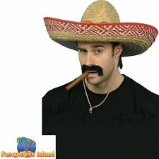 Sombrero Straw Hat Mexican Bandit Fiesta Spanish Men's Fancy Dress Costume