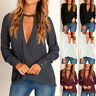 UK Women Choker Deep V Neck Long Sleeve Sexy Ladies Loose Casual Tops Shirt Plus