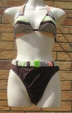 PRETTY NEXT 2 PIECE BIKINI SET BROWN STRIPE BOTTOMS SZ 16 HALTERNECK TOP SZ 12