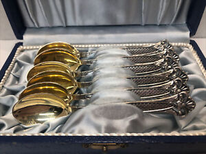 Set 6 vintage 813 Silver Demitasse Spoons made in 1965 By Ky Finland Gilt Bowls