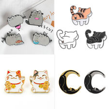 Creative Fortune Cat Fat Cat Eat Noodles Brooch Badge Lapel Pin Enamel Pins Gift