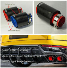 63mm Glossy Carbon Fiber&Red Stainless Steel Car Exhaust Tail Pipe Tips Muffler