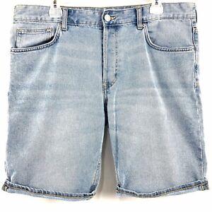H&M Slim Fit Distressed Blue Denim Shorts GB Light Wash Mens Size 36 HM