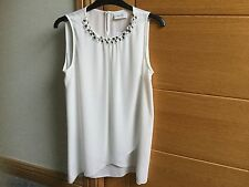 LADIES CREAM TOP WITH CRYSTALS FROM WALLIS - SIZE XS PETITE BNWT