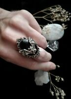 Vintage 925 Silver Black Sapphire Bat Rings Necklace Earrings Wedding Jewelry