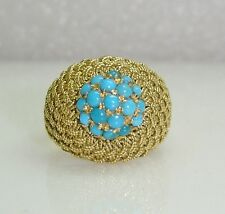 BASKET WEAVE DOME RING W/CLUSTER OF TURQUOISE 18K YELLOW GOLD SIZE 7.5  177-P
