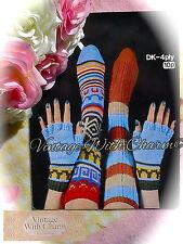 Vintage 1970's Knitting Pattern Socks in 2 Styles & 1 Style Fingerless Gloves