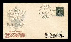 DR JIM STAMPS WHITE HOUSE PRESIDENTIAL FDC SCOTT 809 UNSEALED US COVER