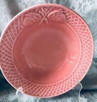 "Bordallo Pinheiro Pottery Bowl 7.25"" Bunny Rabbits Carrot Excellent Portugal"