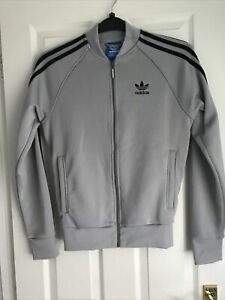LIGHT GREY ADIDAS TOP, TRACKSUIT TOP SIZE EXTRA SMALL-SMALL
