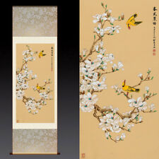Chinese Silk Scroll Painting Swallow Home Office Decoration(玉兰飞燕图)