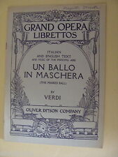 Opera Libretto Un Ballo in Maschera The Masked Ball Verdi Italian / English