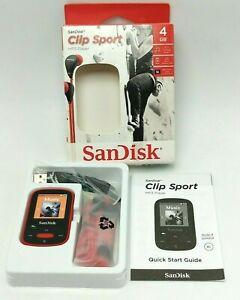 "SANDISK SDMX24-004G-A46R 4GB 1.44"" Clip Sport MP3 Player Red Unused. Open Box"