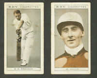 BDV Cigarettes Sportsmen double Don Bradman Hayden Inkson cricket racing G-VGC