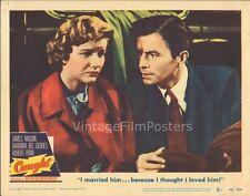 CAUGHT, orig 1949 Lobby Card #3, MAX OPHULS film-noir, James MASON & Bel GEDDES