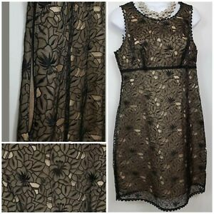 Oasis Midi Dress Round Neck Netted Sleeveless Black Floral Party Going Out A014