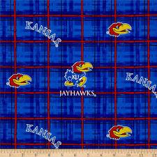 UNIVERSITY OF KANSAS COTTON FABRIC- KANSAS JAYHAWKS-ks800