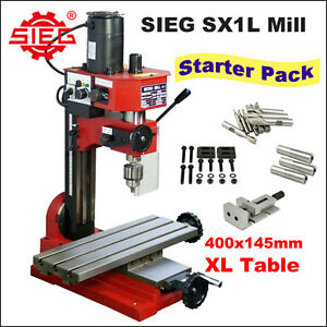 SIEG SX1L Milling Machine 400mm Long Table /150W DC Motor Starter Pack