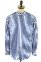POLO RALPH LAUREN Mens Shirt Medium Blue Chalk Stripe Cotton