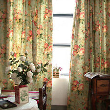 Pair of Designer Curtains,Cotton Vintage Green Floral Prints, 2 off 115 x 230cm