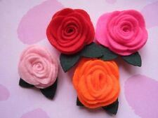 20 Felt Rose 4D Flower Leaf-4 Colors R088