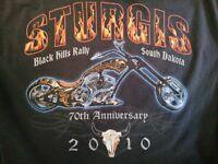 Sturgis Black Hills Rally 2010 70th Anniversary Black T-shirt Mens Size XXXL 3XL