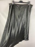 BNWT M&S Size 18 Long Black Satin Light Skirt A Line Evening Slip Style