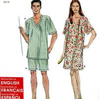 Sewing Pattern Short Pajamas Nightshirt XS S M L XL Adults Men Women Uncut S9284