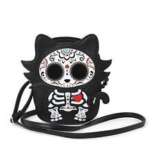 Sugar Skull Day of the Dead Skeleton Kitty Cat Crossbody Bag Purse Alternative