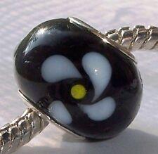 Black White Yellow Swirl Murano Glass Bead for Silver European Charm Bracelet
