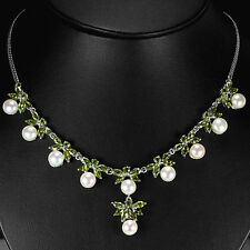 Sterling Silver 925 Genuine Natural Peridot & Button Pearl Necklace 17.75 Inch